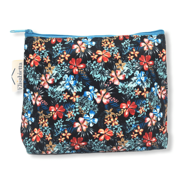 dark floral pouch bag light blue zipper
