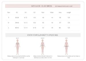 elise dress size guide