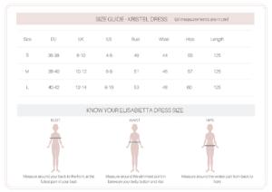 kristel dress size guide